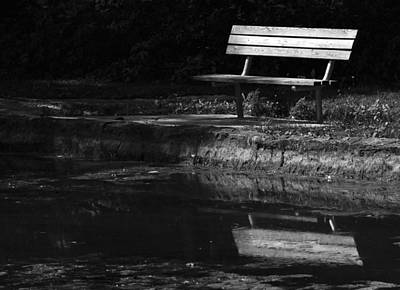 Poster featuring the photograph Park Bench Reflections by Wanda Brandon