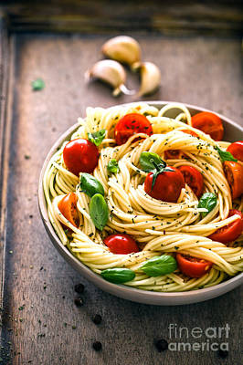 Pasta With Olive Oil  Poster by Mythja Photography