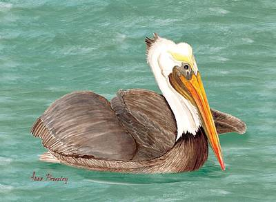 Pelican Floating Poster by Anne Beverley-Stamps