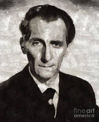 Peter Cushing, Vintage Actor Poster by Mary Bassett