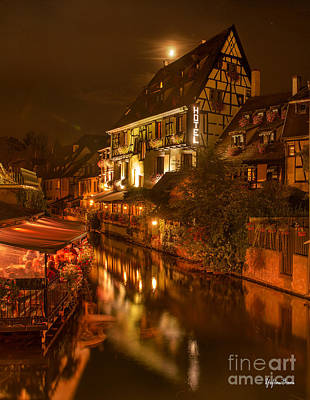 Petite Venise Colmar At Night Poster by Yefim Bam