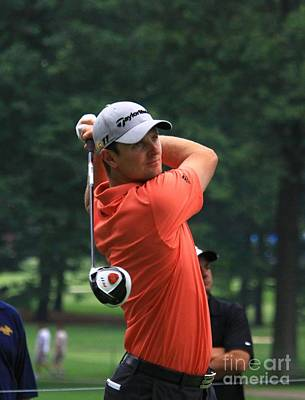 Pga Golfer Justin Rose Swings The Driver Poster