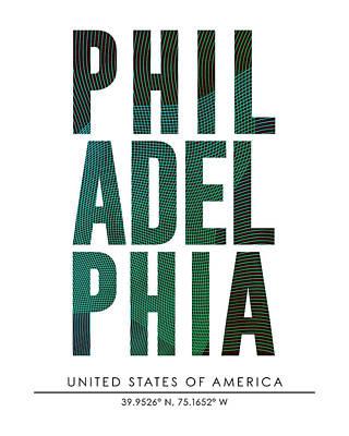 Philadelphia City Print With Coordinates Poster