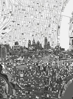 Philadelphia Skyline Map 4 Poster by Bekim Art