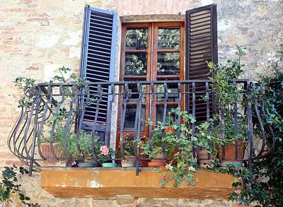 Poster featuring the photograph Pienza Balcony by Pat Purdy