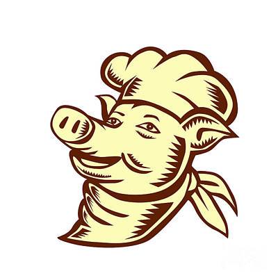 Pig Chef Cook Head Looking Up Woodcut Poster