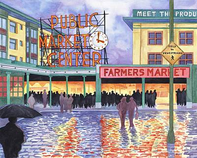 Pike Place Lights Poster by Scott Nelson