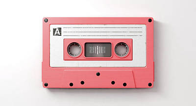 Pink Cassette Mix Tape Poster by Allan Swart