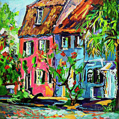 Poster featuring the painting Pink House On Chalmers Street Charleston South Carolina by Ginette Callaway