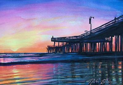 Pismo Pier Sunset Poster by Therese Fowler-Bailey