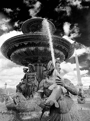 Poster featuring the photograph Place De La Concorde Fountain by Heidi Hermes