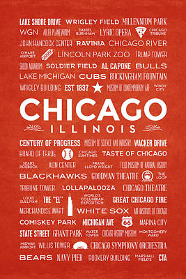 Poster featuring the digital art Places Of Chicago On Orange Chalkboard by Christopher Arndt