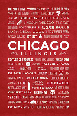 Places Of Chicago On Red Chalkboard Poster by Christopher Arndt