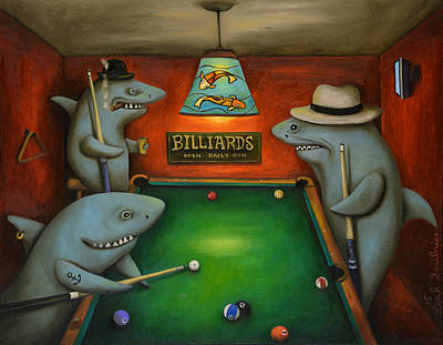 Pool Sharks Poster by Leah Saulnier The Painting Maniac