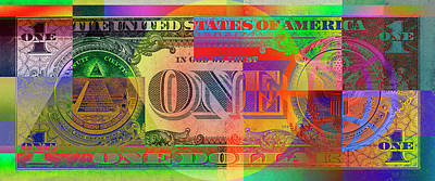 Pop-art Colorized One U. S. Dollar Bill Reverse Poster by Serge Averbukh