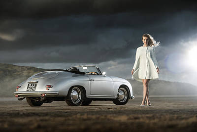 Porsche 356 Speedster With Model Poster