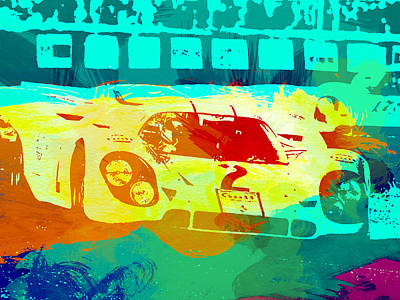 Porsche 917 Watercolor Poster by Naxart Studio