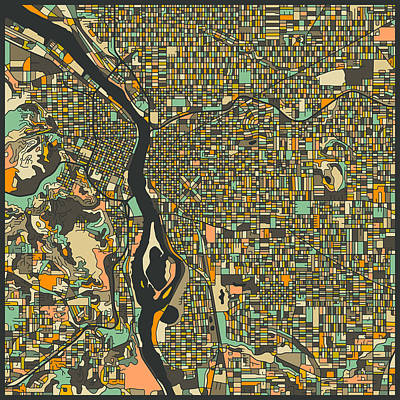 Portland Map Poster by Jazzberry Blue