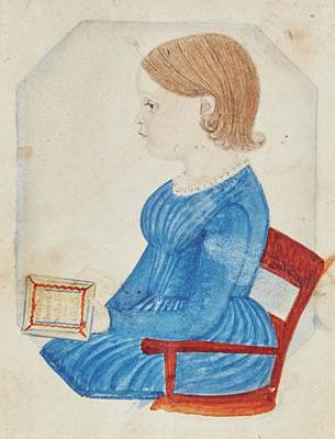 Portrait Of A Girl In A Blue Dress Poster by Justus Dalee