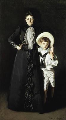 Portrait Of Mrs Edward L Davis And Her Son Livingston Davis Poster by John Singer Sargent