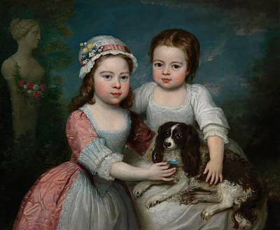 Portrait Of Two Girls And A Spaniel Poster by MotionAge Designs