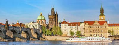 Prague, Czech Republic. Charles Bridge, Boat Cruise On Vltava River. Vintage Poster by Michal Bednarek