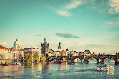 Prague, Czech Republic Skyline With Historic Charles Bridge And Vltava River. Vintage Poster by Michal Bednarek