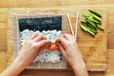 Preparing Sushi. Salmon, Avocado, Rice And Chopsticks On Wooden Table Poster