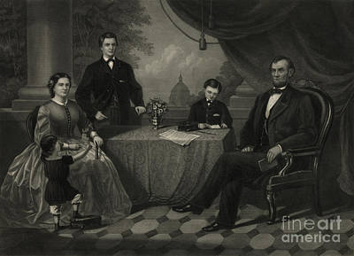 President Lincoln With His Family Poster