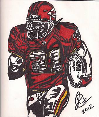 Poster featuring the drawing Priest Holmes 2 by Jeremiah Colley