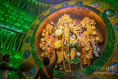Priest Praying To Goddesss Durga Durga Puja Festival Kolkata India Poster by Rudra Narayan  Mitra