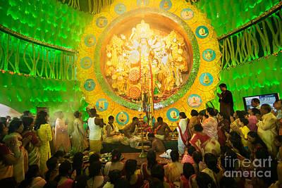 Priests Praying To Goddess Durga Durga Puja Festival Celebration Kolkata India Poster