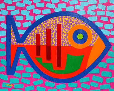 Psychedelic Fish Poster by John  Nolan