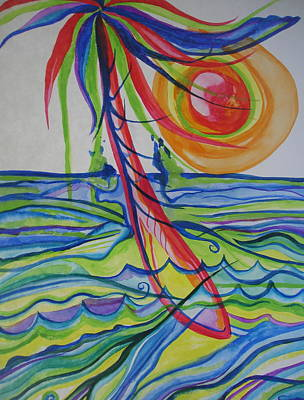 Poster featuring the painting Psychedelic Palm Tree by Erika Swartzkopf