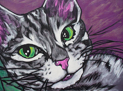 Poster featuring the painting Purple Tabby by Sarah Crumpler