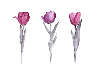 Purple Tulips Watercolor Painting Poster by Joanna Szmerdt