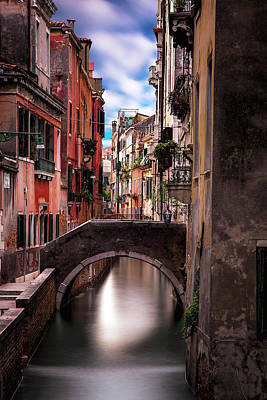 Quiet Canal In Venice Poster by Andrew Soundarajan