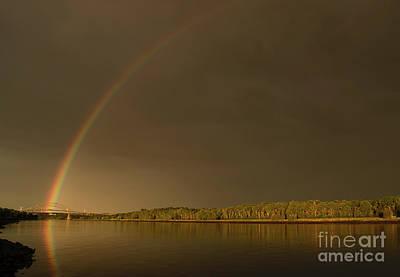 Rainbow Over Sagamore Bridge, Cape Cod Poster by Michelle Himes