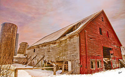 Red Barn In Winter Poster by Alana Ranney