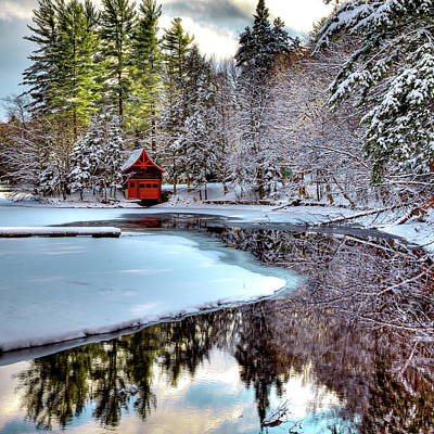 Red Boathouse In Winter Poster by David Patterson