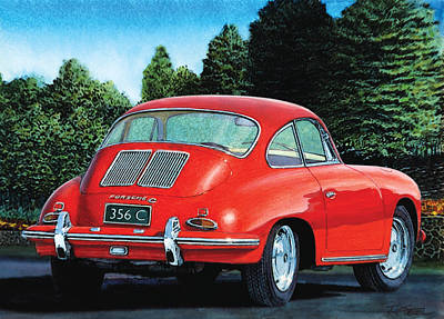Red Porsche 356c Poster by Rod Seel