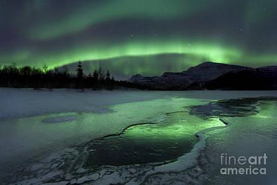 Reflected Aurora Over A Frozen Laksa Poster by Arild Heitmann