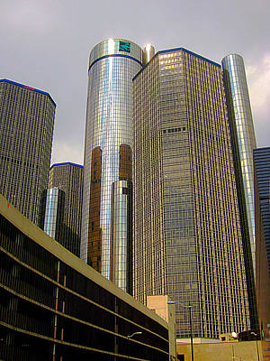 Renaissance Center In Detroit Poster by Guy Ricketts