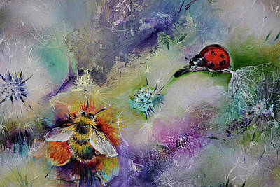 Rendezvous, Ladybug And Bumble-bee On Dandelions  Poster