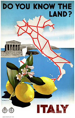 Restored Italy Vintage Travel Poster Poster