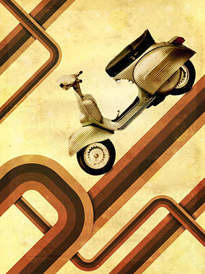 Retro Vespa Scooter Poster
