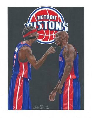 Richard Hamilton And Chauncey Billups Poster by Chris Brown