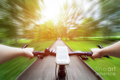 Riding A Bike First Person Perspective. Smartphone On Handlebar. Speed Motion Blur Poster by Michal Bednarek