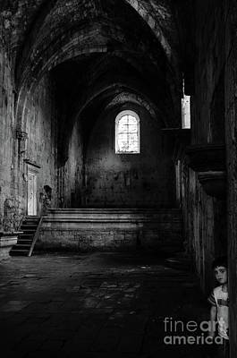 Poster featuring the photograph Rioseco Abandoned Abbey Nave Bw by RicardMN Photography