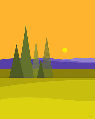 Poster featuring the digital art Rolling Hills by Val Arie